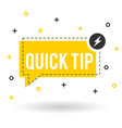 yellow quick tips logo icon or symbol with vector image vector image
