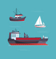 a yacht a cargo ship a fishing vessel in one vector image