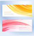 abstract wavy banners set in yellow and pink color vector image