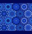 blue background tiles mandala pattern vector image vector image