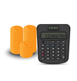 calculator and coin vector image vector image