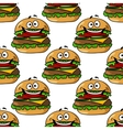 Cartoon hamburger seamless pattern vector image vector image