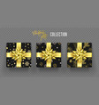 christmas gift box golden bow ribbon new year vector image