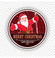 christmas red dark round sign with the silhouette vector image vector image
