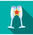 Clink glasses icon flat style vector image vector image