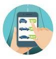 convenient car purchase in smartphone online vector image vector image