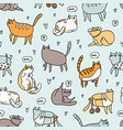 cute special cats seamless pattern vector image