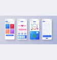 different ui ux gui screens fitness app and flat vector image vector image