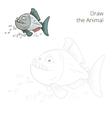 Draw the animal piranha educational game vector image vector image