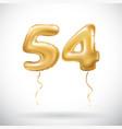 golden number 54 fifty four metallic balloon vector image vector image