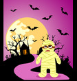 halloween background with mummy and full moon vector image vector image