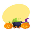 hallowing pumpkin lanterns black iron caldron vector image vector image