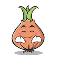happy face onion character cartoon vector image vector image