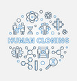 human cloning round in outline vector image vector image