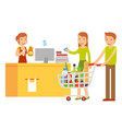 husband and his wife are in the cashier to pay vector image