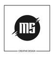 initial letter ms logo template design vector image