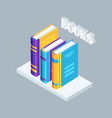isometric icon book on bookshelf vector image