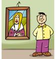 man in art gallery cartoon vector image