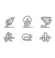 natural disaster icons set meteorite fall vector image vector image