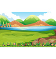 Nature scene with hills background vector image vector image