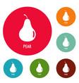 pear icons circle set vector image vector image