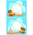 photo frame with chests full of gold at sea bottom vector image