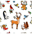 seamless pattern deer squirrel and christmas vector image vector image