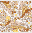 seamless patterns with abstract waves and leaves vector image vector image