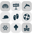 season icons set with ship helm sand castle vector image