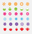 set bright flower stickers vector image vector image