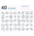 set line icons content marketing vector image vector image