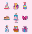set of kids party cartoons vector image