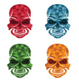 set of skulls polygon art vector image vector image