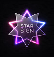 shining light neon star background on black wall vector image vector image