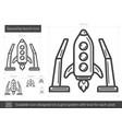 spaceship launch line icon vector image vector image