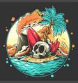 summer skull head on beach with a broken surf vector image vector image