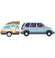 suv sport vehicle with caravan trailer vector image vector image