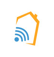 wifi house home logo smart home tech internet in vector image vector image