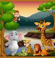 wild animals are enjoying nature by the lake vector image vector image