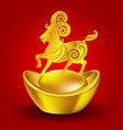 Year of the Goat Chinese Zodiac Goat on red vector image vector image