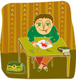 boy drawing table room vector image