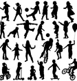 Group of active children hand drawn sillhouettes vector image