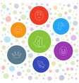 7 cute icons vector image vector image