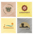 assembly flat shading style icons logo bear lion vector image vector image