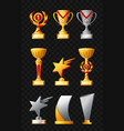 awards - realistic set of trophies vector image vector image