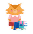 back to school fox books notepad palette color vector image vector image