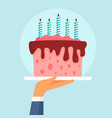 birthday cake concept background flat style vector image vector image