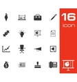 black business icons set on white background vector image