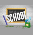 blackboard welcomes back with pencil and colorful vector image vector image