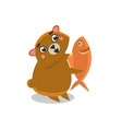 Brown Bear Holding Fish vector image vector image